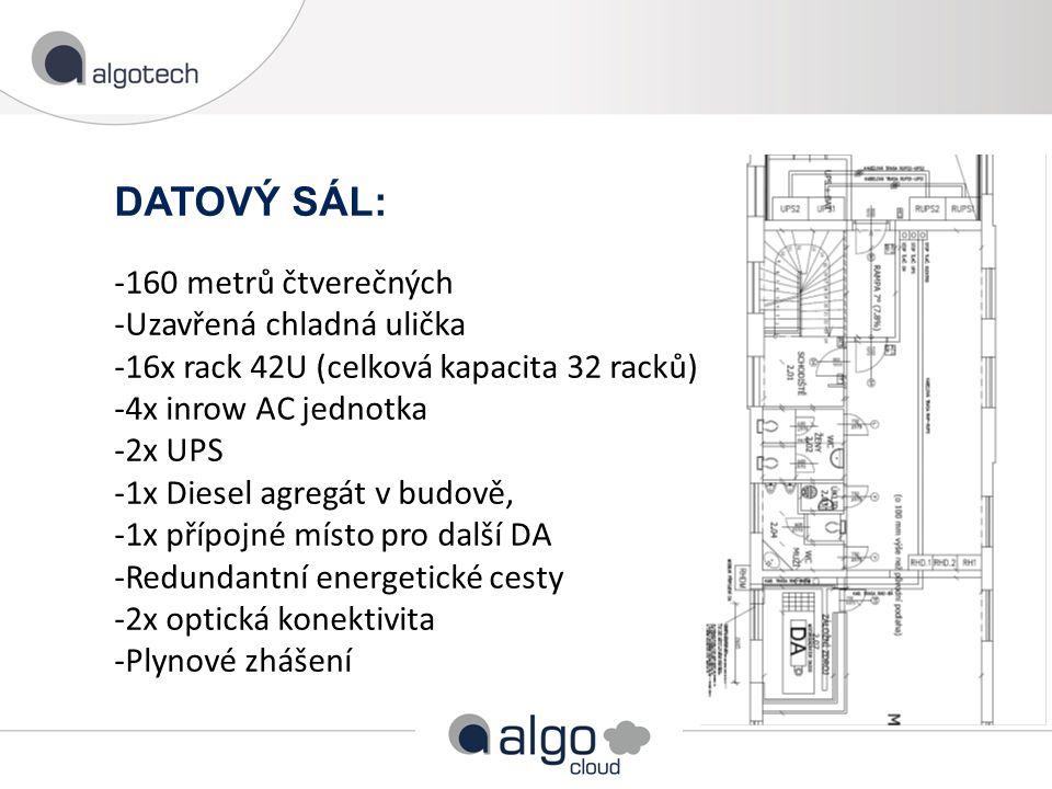 DATOVÝ SÁL: -160 metrů čtverečných -Uzavřená chladná ulička -16x rack 42U (celková kapacita 32 racků) -4x inrow AC jednotka -2x UPS -1x Diesel agregát v budově, -1x přípojné místo pro další DA -Redundantní energetické cesty -2x optická konektivita -Plynové zhášení