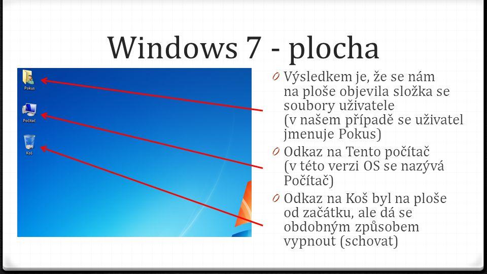 Windows 7 - plocha 0 V okně Individuální nastavení je daleko více možností, jak přizpůsobit vzhled pracovní plochy a prostředí pro práci na počítači