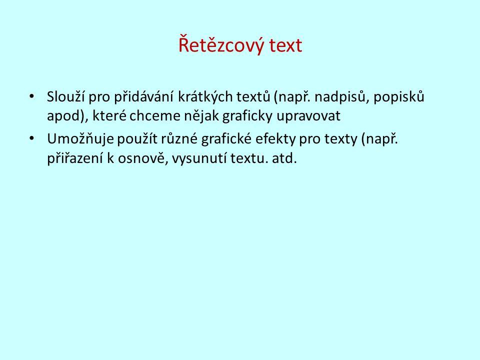 Řetězcový text Slouží pro přidávání krátkých textů (např. nadpisů, popisků apod), které chceme nějak graficky upravovat Umožňuje použít různé grafické