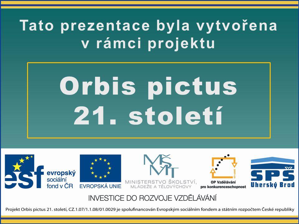 Orbis pictus 21. století Tato prezentace byla vytvořena v rámci projektu