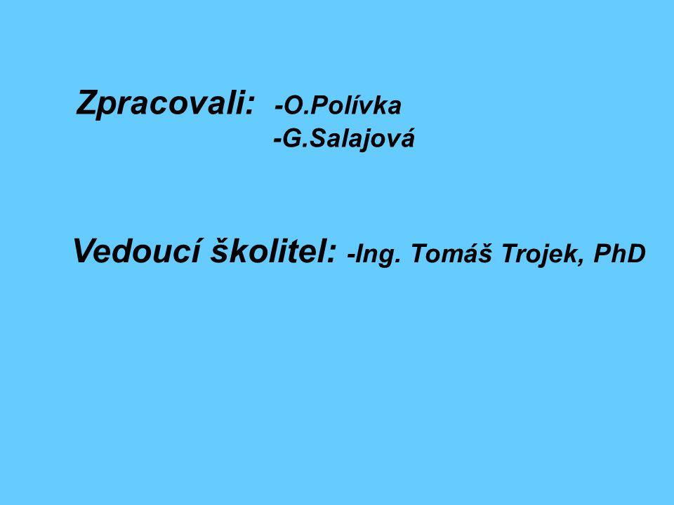 Zpracovali: -O.Polívka -G.Salajová Vedoucí školitel: -Ing. Tomáš Trojek, PhD