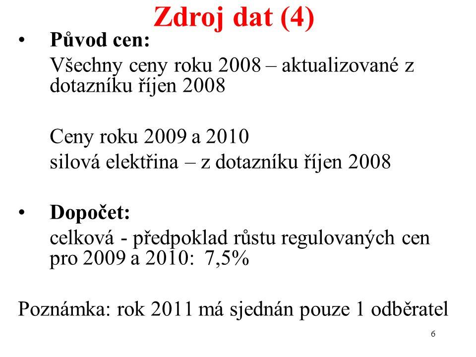 6 Zdroj dat (4) Původ cen: Všechny ceny roku 2008 – aktualizované z dotazníku říjen 2008 Ceny roku 2009 a 2010 silová elektřina – z dotazníku říjen 2008 Dopočet: celková - předpoklad růstu regulovaných cen pro 2009 a 2010: 7,5% Poznámka: rok 2011 má sjednán pouze 1 odběratel