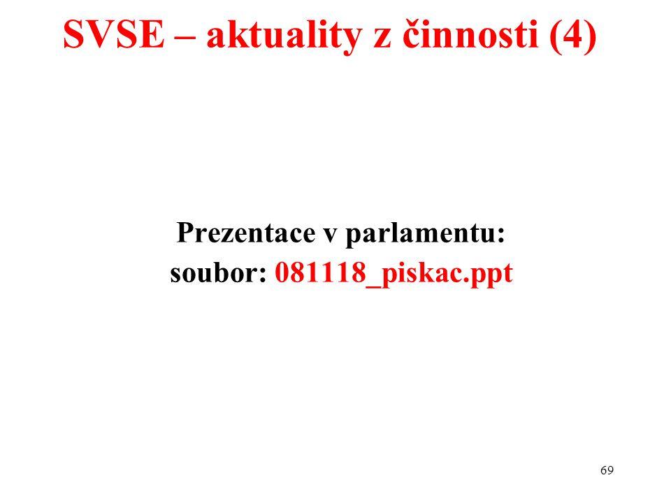 69 Prezentace v parlamentu: soubor: 081118_piskac.ppt SVSE – aktuality z činnosti (4)