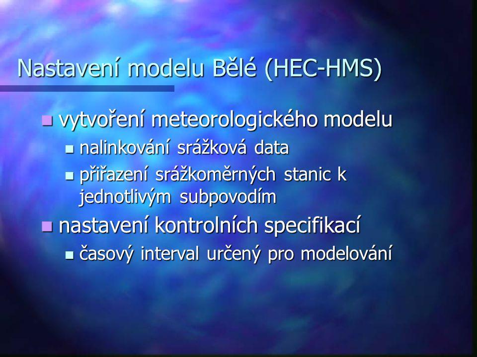 Nastavení modelu Bělé (HEC-HMS) vytvoření meteorologického modelu vytvoření meteorologického modelu nalinkování srážková data nalinkování srážková dat