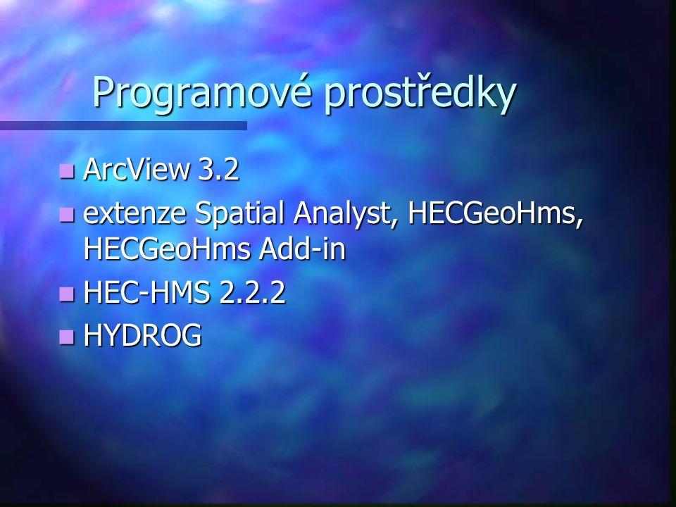 Programové prostředky ArcView 3.2 ArcView 3.2 extenze Spatial Analyst, HECGeoHms, HECGeoHms Add-in extenze Spatial Analyst, HECGeoHms, HECGeoHms Add-i