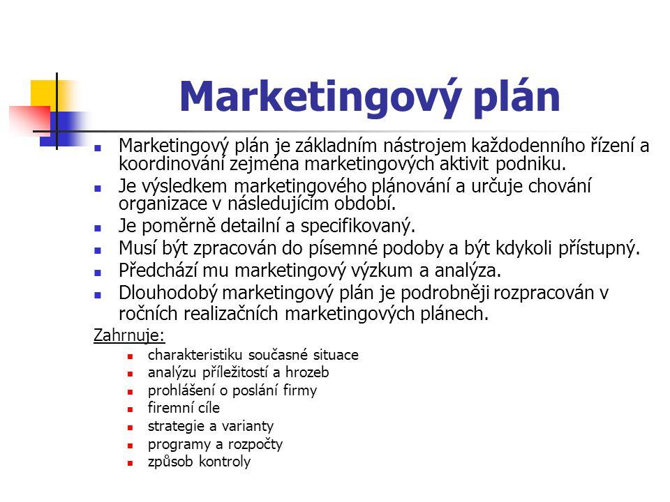 Marketingový plán Marketingový plán je základním nástrojem každodenního řízení a koordinování zejména marketingových aktivit podniku. Je výsledkem mar
