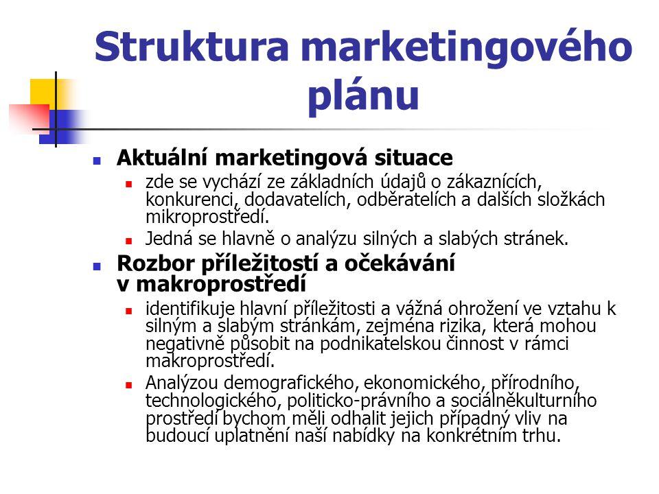 Struktura marketingového plánu Údaje o trhu obsahuje základní číselné sumarizace informací o potenciálu trhu, o konkrétních prodejích, cenách, ziskovém rozpětí a čistém zisku pro každý nabízený produkt na dotyčném cílovém trhu (segmentu).