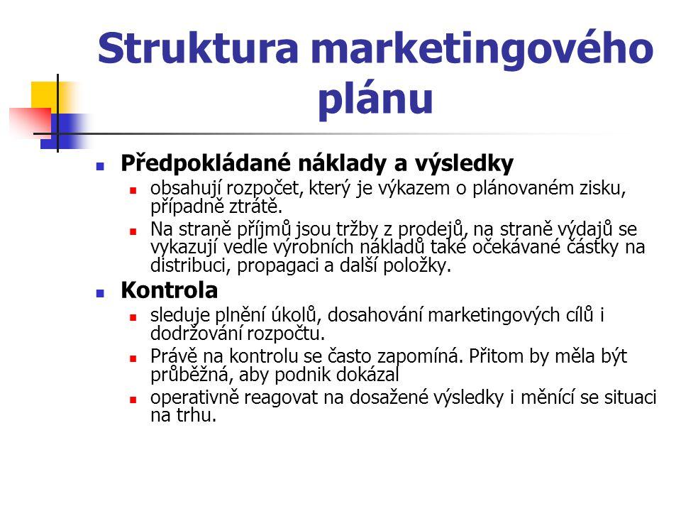 Struktura marketingového plánu Předpokládané náklady a výsledky obsahují rozpočet, který je výkazem o plánovaném zisku, případně ztrátě. Na straně pří