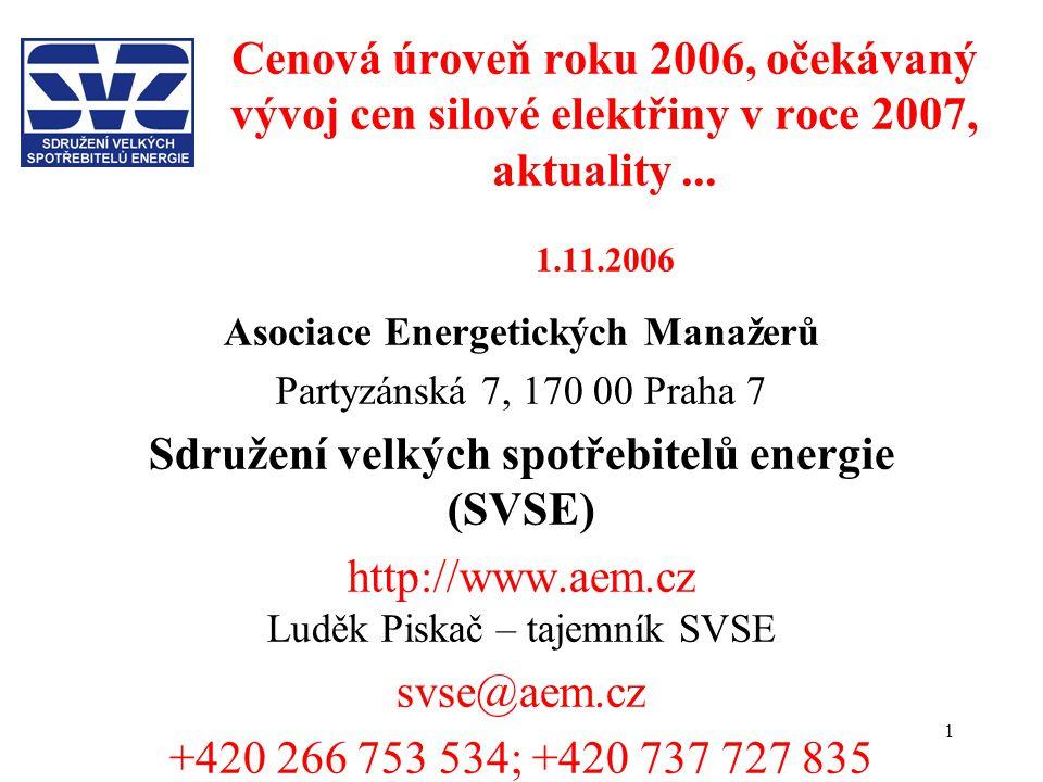 1 Cenová úroveň roku 2006, očekávaný vývoj cen silové elektřiny v roce 2007, aktuality... 1.11.2006 Asociace Energetických Manažerů Partyzánská 7, 170
