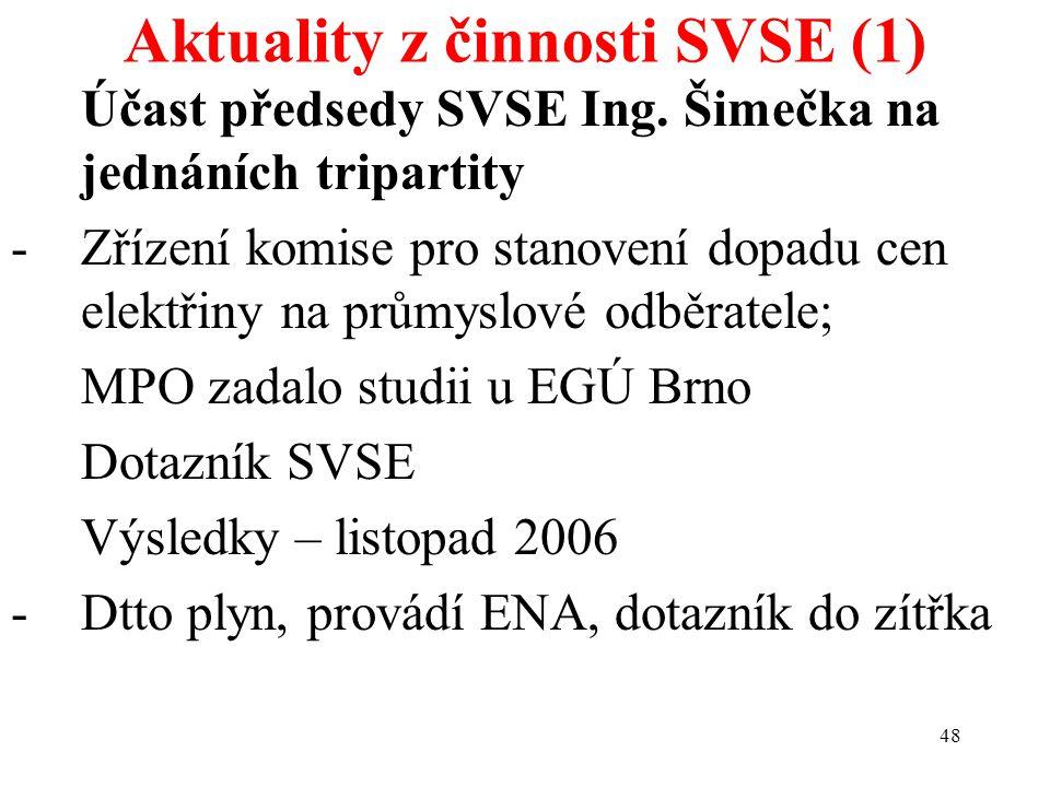 48 Aktuality z činnosti SVSE (1) Účast předsedy SVSE Ing. Šimečka na jednáních tripartity -Zřízení komise pro stanovení dopadu cen elektřiny na průmys
