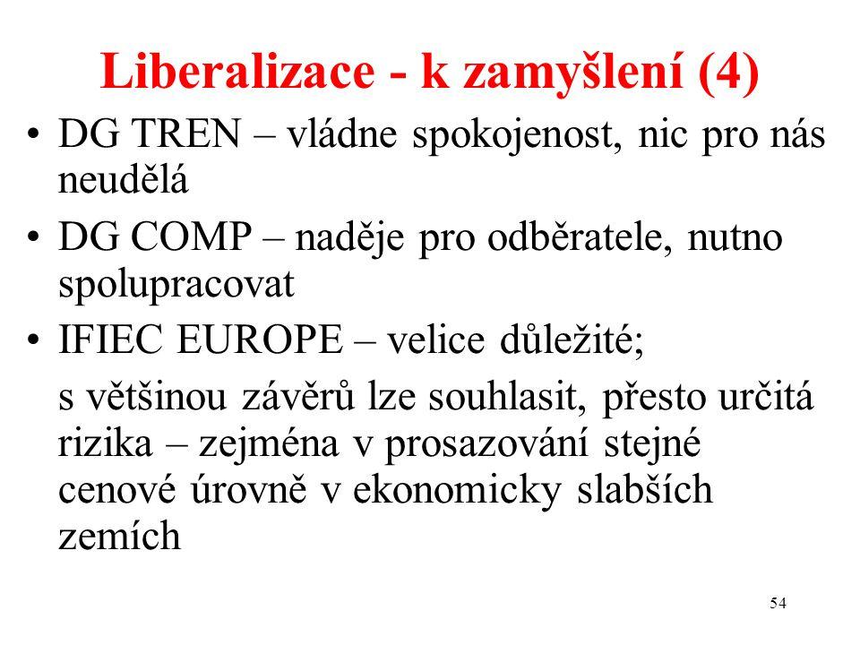 54 Liberalizace - k zamyšlení (4) DG TREN – vládne spokojenost, nic pro nás neudělá DG COMP – naděje pro odběratele, nutno spolupracovat IFIEC EUROPE – velice důležité; s většinou závěrů lze souhlasit, přesto určitá rizika – zejména v prosazování stejné cenové úrovně v ekonomicky slabších zemích