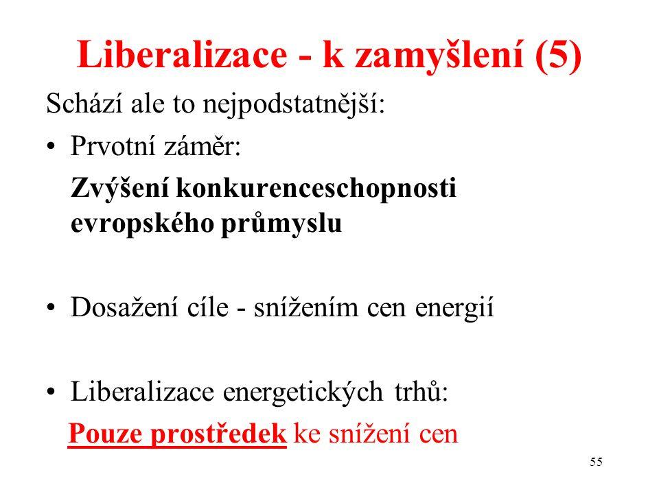 55 Liberalizace - k zamyšlení (5) Schází ale to nejpodstatnější: Prvotní záměr: Zvýšení konkurenceschopnosti evropského průmyslu Dosažení cíle - snížením cen energií Liberalizace energetických trhů: Pouze prostředek ke snížení cen