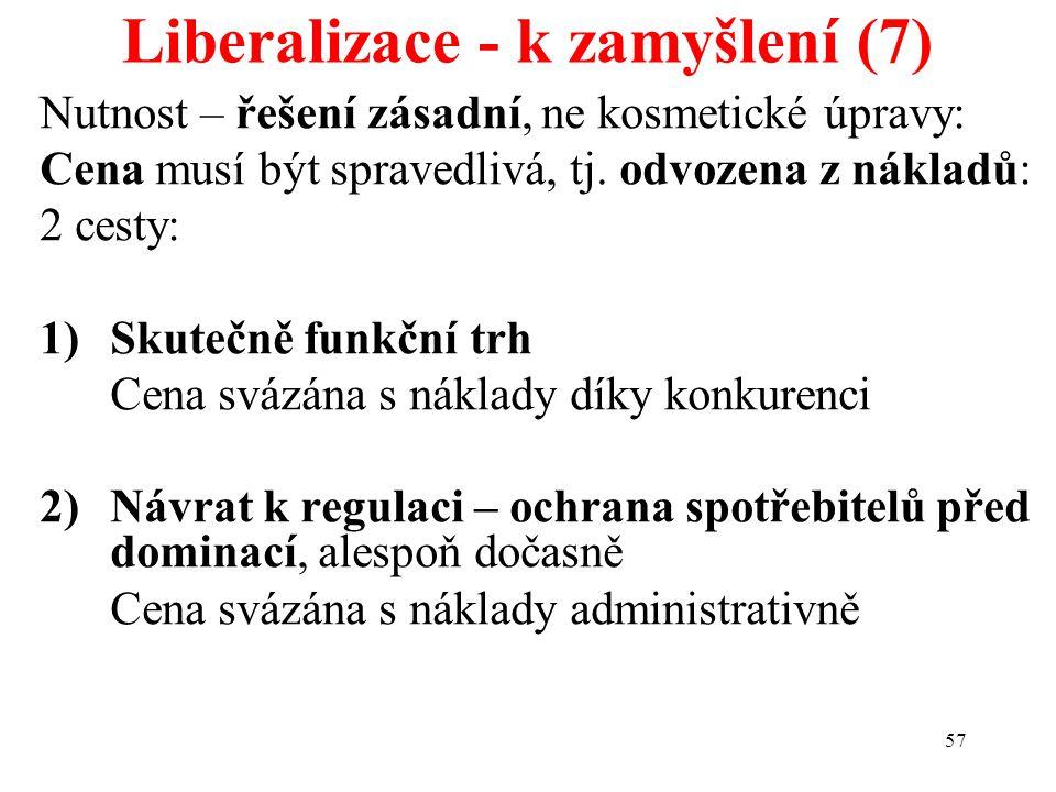 57 Liberalizace - k zamyšlení (7) Nutnost – řešení zásadní, ne kosmetické úpravy: Cena musí být spravedlivá, tj. odvozena z nákladů: 2 cesty: 1)Skuteč