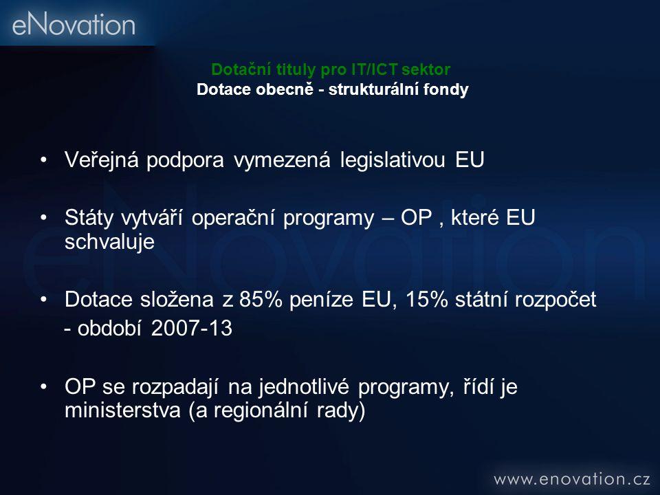 Dotační tituly pro IT/ICT sektor Dotace obecně - strukturální fondy Veřejná podpora vymezená legislativou EU Státy vytváří operační programy – OP, které EU schvaluje Dotace složena z 85% peníze EU, 15% státní rozpočet - období 2007-13 OP se rozpadají na jednotlivé programy, řídí je ministerstva (a regionální rady)