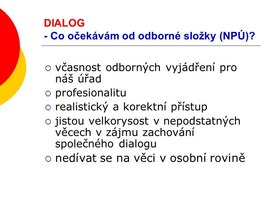 DIALOG - Co očekávám od odborné složky (NPÚ)?  včasnost odborných vyjádření pro náš úřad  profesionalitu  realistický a korektní přístup  jistou v
