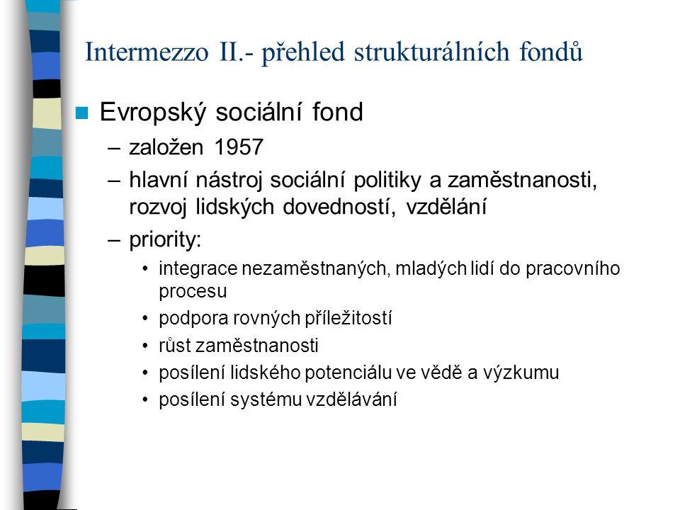 Evropský sociální fond –založen 1957 –hlavní nástroj sociální politiky a zaměstnanosti, rozvoj lidských dovedností, vzdělání –priority: integrace neza