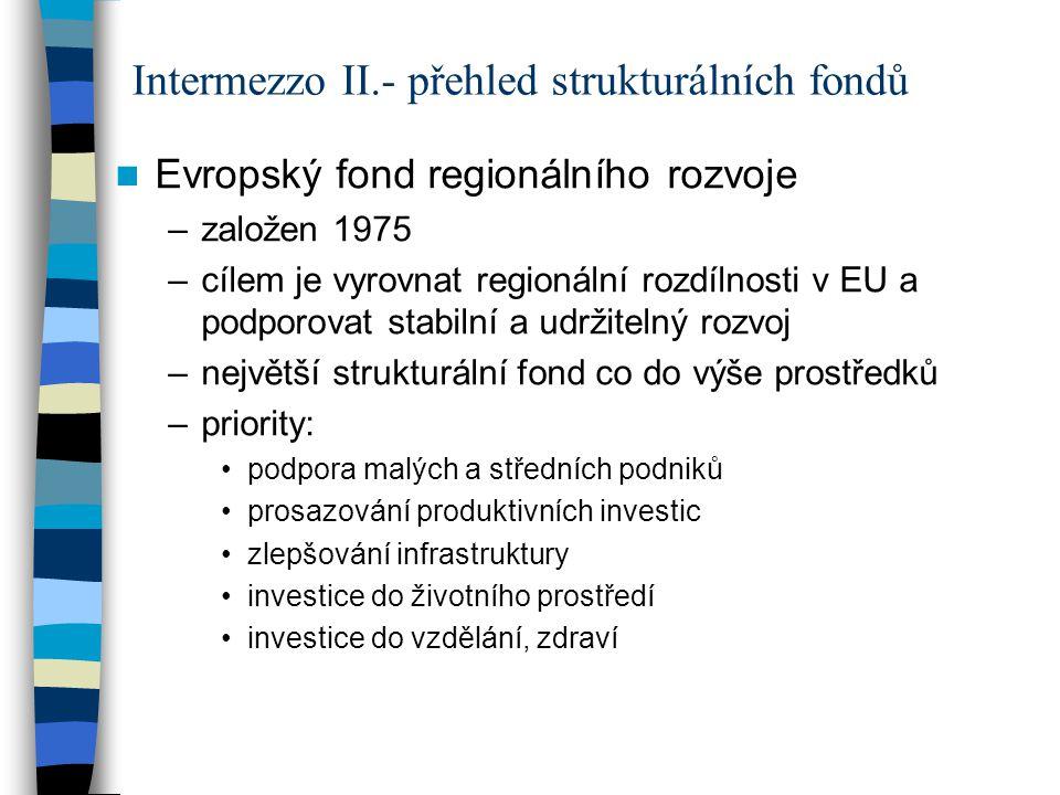 Evropský fond regionálního rozvoje –založen 1975 –cílem je vyrovnat regionální rozdílnosti v EU a podporovat stabilní a udržitelný rozvoj –největší st