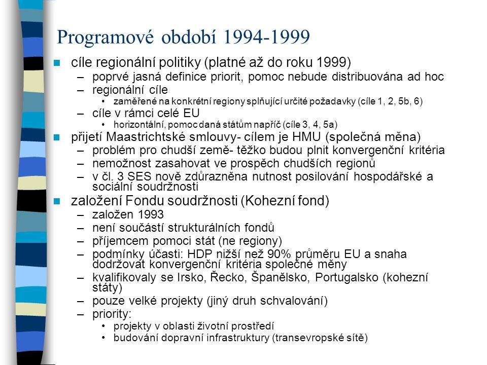 cíle regionální politiky (platné až do roku 1999) –poprvé jasná definice priorit, pomoc nebude distribuována ad hoc –regionální cíle zaměřené na konkr