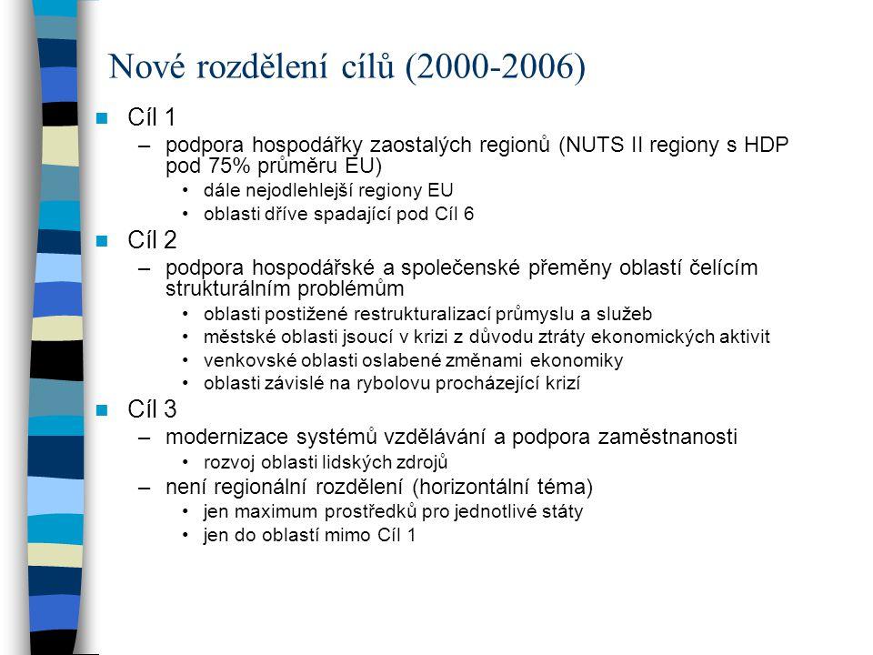 Cíl 1 –podpora hospodářky zaostalých regionů (NUTS II regiony s HDP pod 75% průměru EU) dále nejodlehlejší regiony EU oblasti dříve spadající pod Cíl