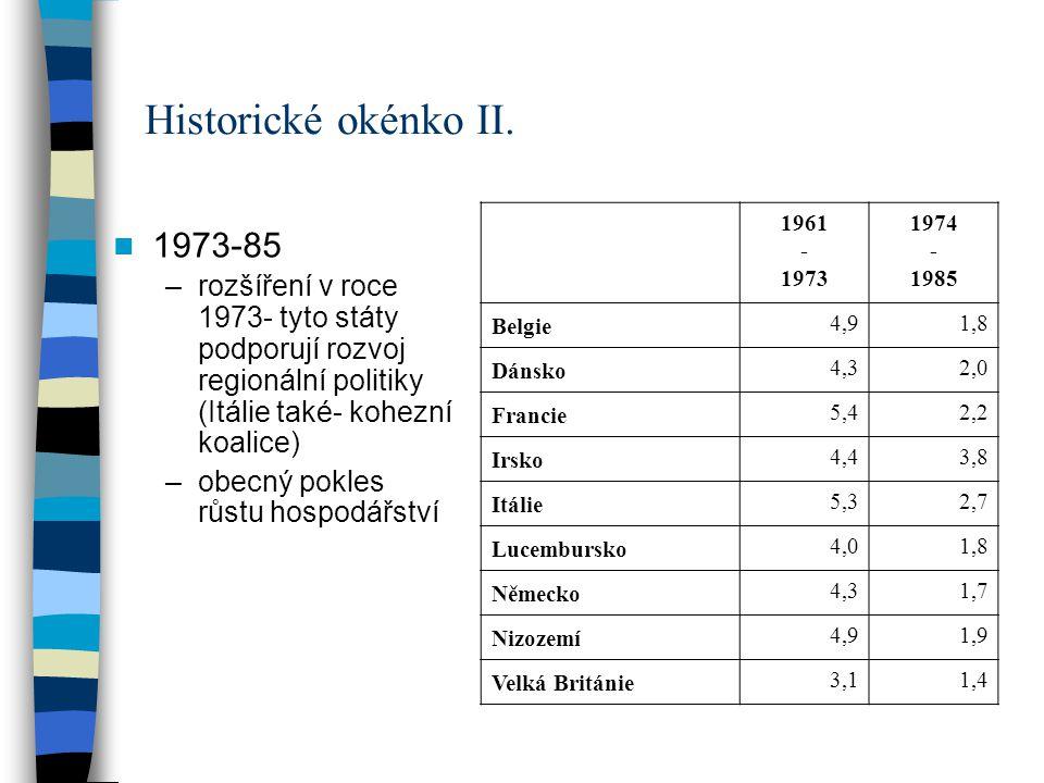 1973-85 –vytvoření Evropského fondu pro regionální rozvoj (ERDF) dohodnuto 1975 (hrozba blokací integrace) zpočátku omezený dopad (málo peněz) čerpání prostředků podle kvót uděleným státům –1979- první reforma navýšení objemu finančních prostředků přechod malé části peněz do pravomocí Komise (dále poté rozšiřováno) –Integrované programy pro Středomoří příprava na přijetí Portugalska a Španělska Historické okénko III.