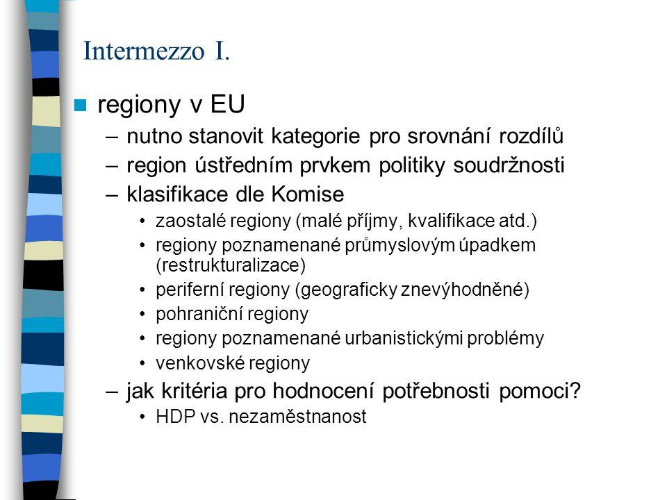 regiony v EU –nutno stanovit kategorie pro srovnání rozdílů –region ústředním prvkem politiky soudržnosti –klasifikace dle Komise zaostalé regiony (ma