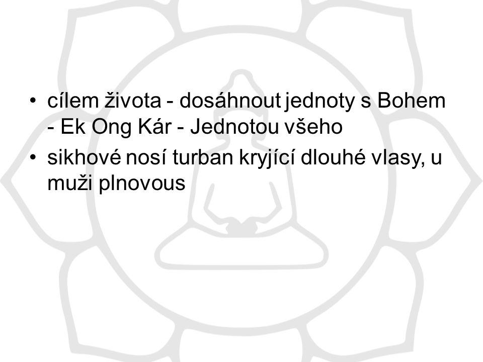 cílem života - dosáhnout jednoty s Bohem - Ek Ong Kár - Jednotou všeho sikhové nosí turban kryjící dlouhé vlasy, u muži plnovous