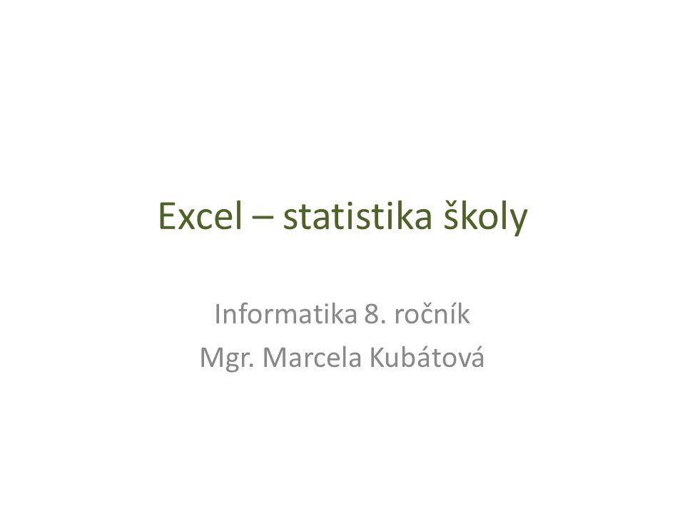 Excel – statistika školy Informatika 8. ročník Mgr. Marcela Kubátová