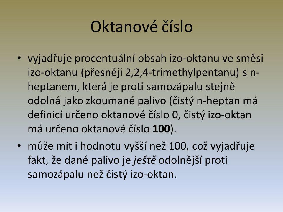 Oktanové číslo vyjadřuje procentuální obsah izo-oktanu ve směsi izo-oktanu (přesněji 2,2,4-trimethylpentanu) s n- heptanem, která je proti samozápalu