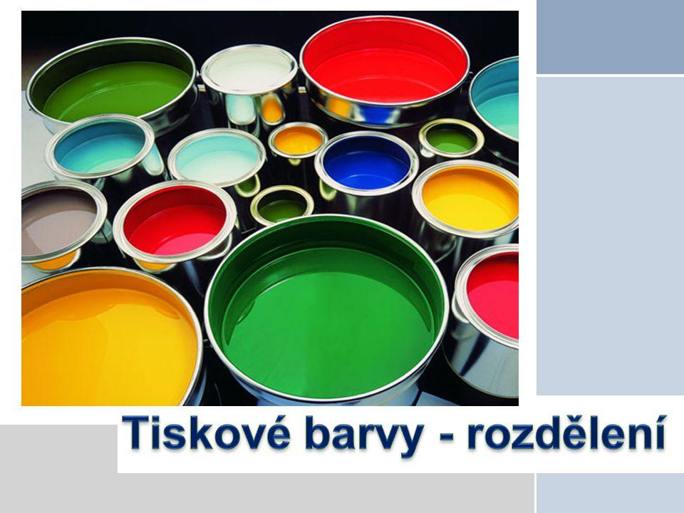 Rozdělení tiskových barev Barvy lze členit podle různých hledisek, nejčastější je členění podle použité tiskové techniky na barvy:  knihtiskové,  ofsetové,  flexotiskové  hlubotiskové  sítotiskové
