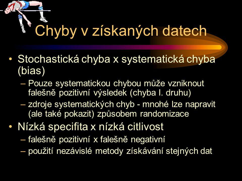Chyby v získaných datech Stochastická chyba x systematická chyba (bias) –Pouze systematickou chybou může vzniknout falešně pozitivní výsledek (chyba I