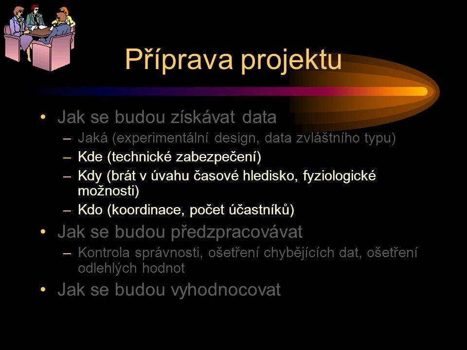 Příprava projektu Jak se budou získávat data –Jaká (experimentální design, data zvláštního typu) –Kde (technické zabezpečení) –Kdy (brát v úvahu časov