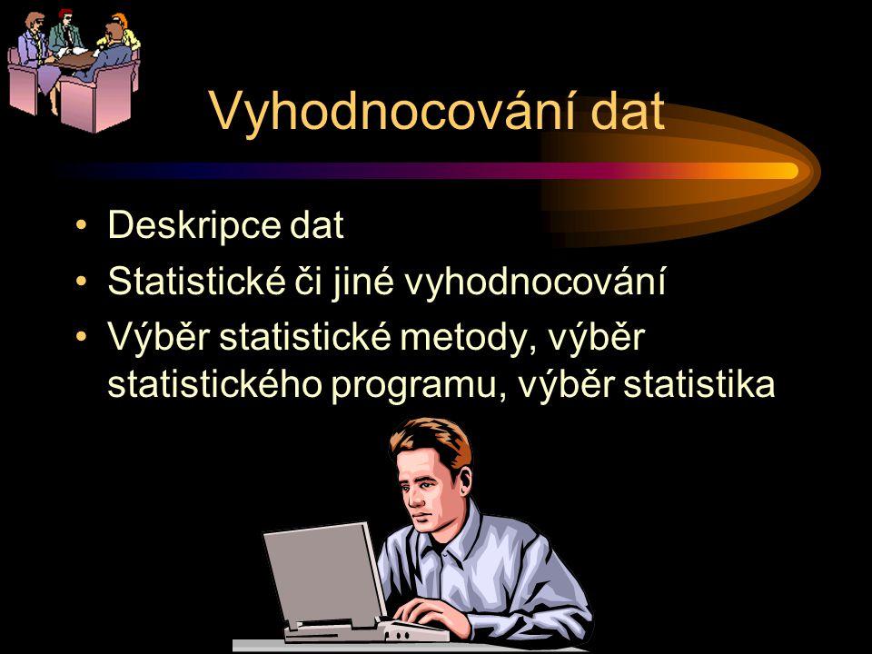 Vyhodnocování dat Deskripce dat Statistické či jiné vyhodnocování Výběr statistické metody, výběr statistického programu, výběr statistika