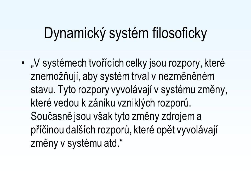 """Dynamický systém filosoficky """"V systémech tvořících celky jsou rozpory, které znemožňují, aby systém trval v nezměněném stavu. Tyto rozpory vyvolávají"""