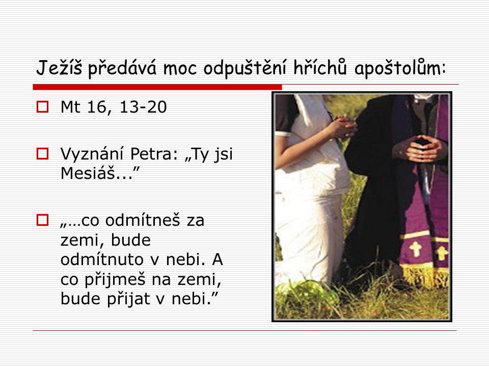 """Ježíš předává moc odpuštění hříchů apoštolům:  Mt 16, 13-20  Vyznání Petra: """"Ty jsi Mesiáš...  """"…co odmítneš za zemi, bude odmítnuto v nebi."""