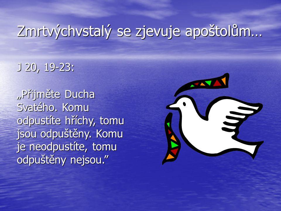 """Zmrtvýchvstalý se zjevuje apoštolům… J 20, 19-23: """"Přijměte Ducha Svatého."""