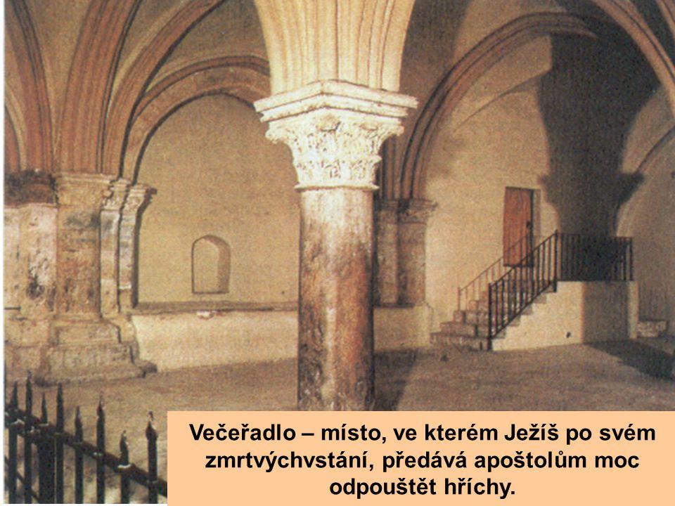 Večeřadlo – místo, ve kterém Ježíš po svém zmrtvýchvstání, předává apoštolům moc odpouštět hříchy.