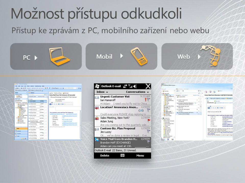 Možnost přístupu odkudkoli Přístup ke zprávám z PC, mobilního zařízení nebo webu PC Web Mobil