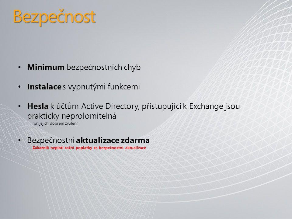 Bezpečnost Minimum bezpečnostních chyb Instalace s vypnutými funkcemi Hesla k účtům Active Directory, přistupující k Exchange jsou prakticky neprolomitelná (při jejích dobrém zvolení) Bezpečnostní aktualizace zdarma Zákazník neplatí roční poplatky za bezpečnostní aktualizace
