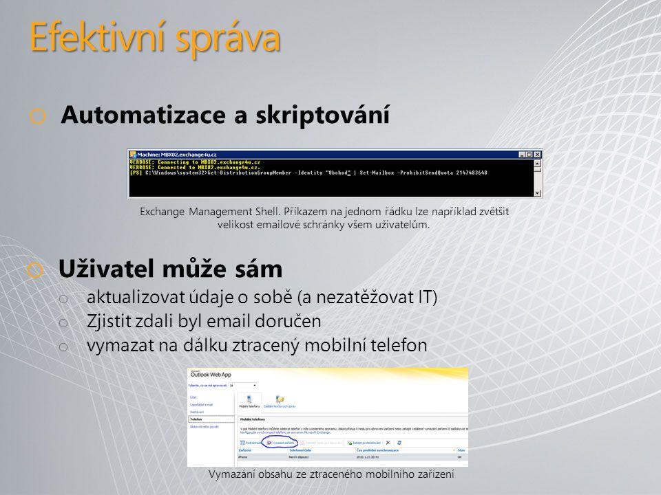 Efektivní správa o Automatizace a skriptování Exchange Management Shell.