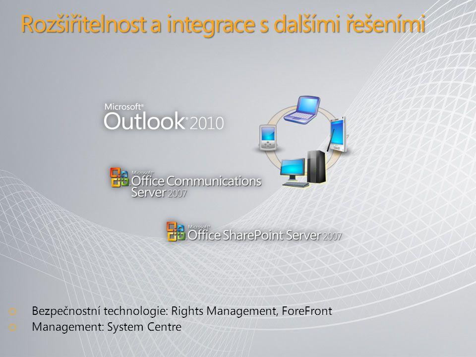 Rozšiřitelnost a integrace s dalšími řešeními o Bezpečnostní technologie: Rights Management, ForeFront o Management: System Centre