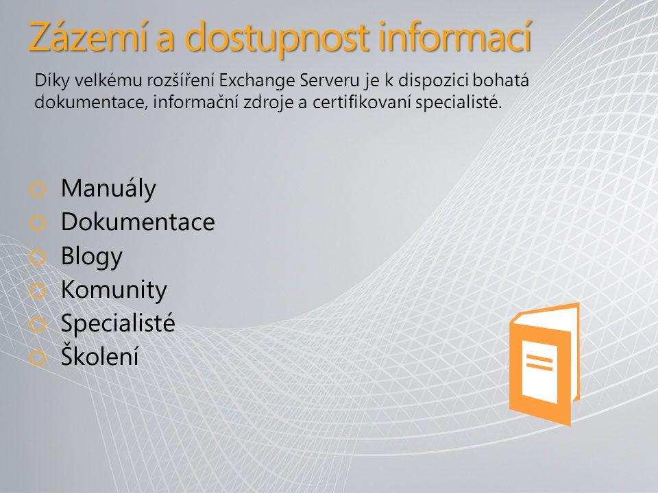 Zázemí a dostupnost informací o Manuály o Dokumentace o Blogy o Komunity o Specialisté o Školení Díky velkému rozšíření Exchange Serveru je k dispozici bohatá dokumentace, informační zdroje a certifikovaní specialisté.