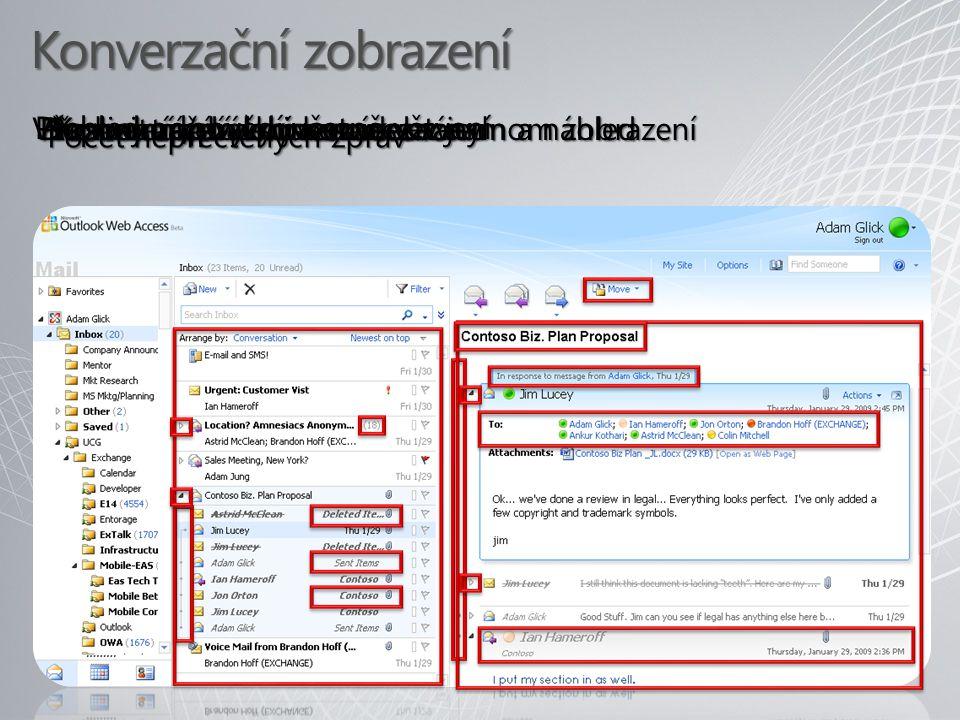Konverzační zobrazení Microsoft Confidential