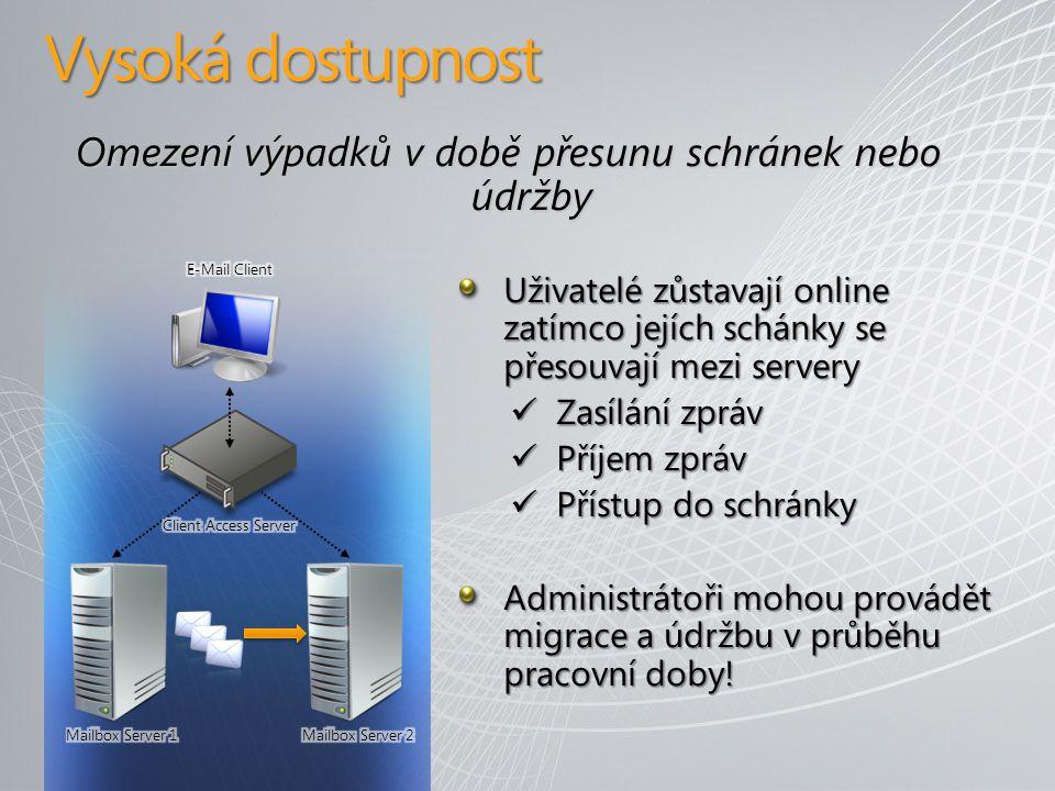 Vysoká dostupnost Omezení výpadků v době přesunu schránek nebo údržby Uživatelé zůstavají online zatímco jejích schánky se přesouvají mezi servery Zasílání zpráv Zasílání zpráv Příjem zpráv Příjem zpráv Přístup do schránky Přístup do schránky Administrátoři mohou provádět migrace a údržbu v průběhu pracovní doby!