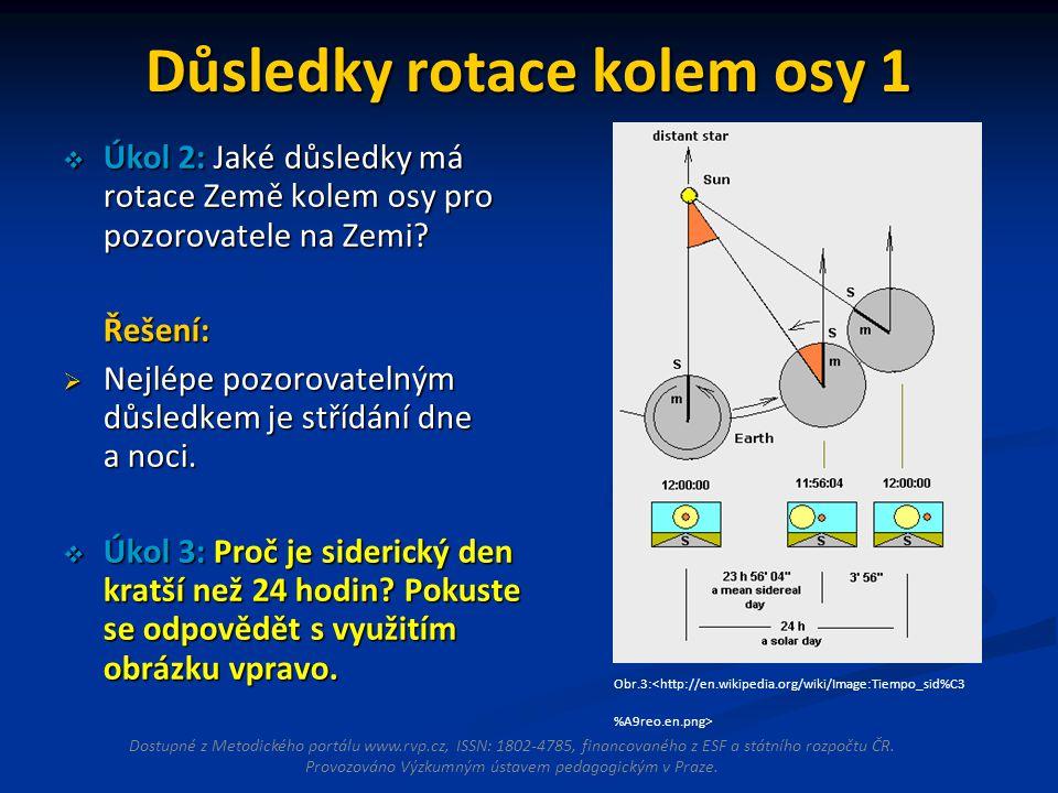 Důsledky rotace kolem osy 1  Úkol 2: Jaké důsledky má rotace Země kolem osy pro pozorovatele na Zemi? Řešení:  Nejlépe pozorovatelným důsledkem je s