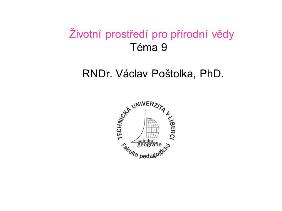 Životní prostředí pro přírodní vědy Téma 9 RNDr. Václav Poštolka, PhD.