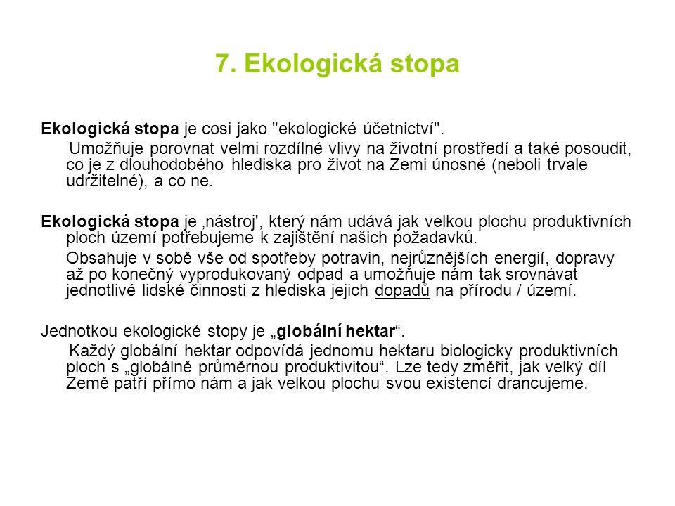 7. Ekologická stopa Ekologická stopa je cosi jako
