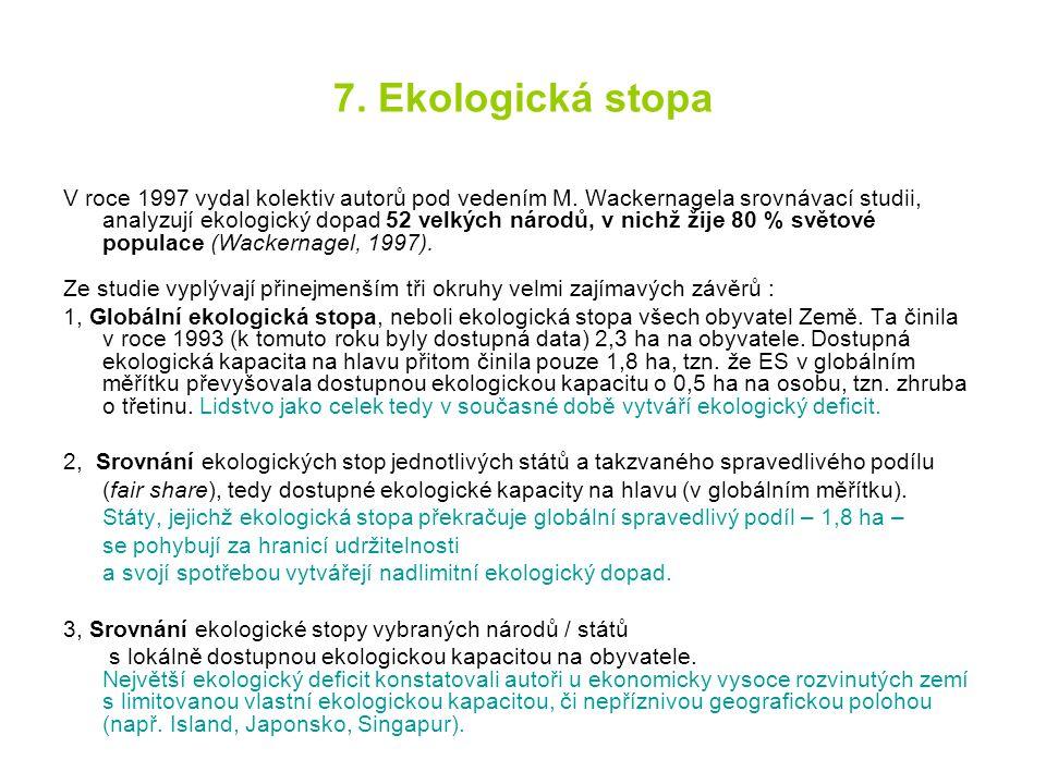 7. Ekologická stopa V roce 1997 vydal kolektiv autorů pod vedením M. Wackernagela srovnávací studii, analyzují ekologický dopad 52 velkých národů, v n