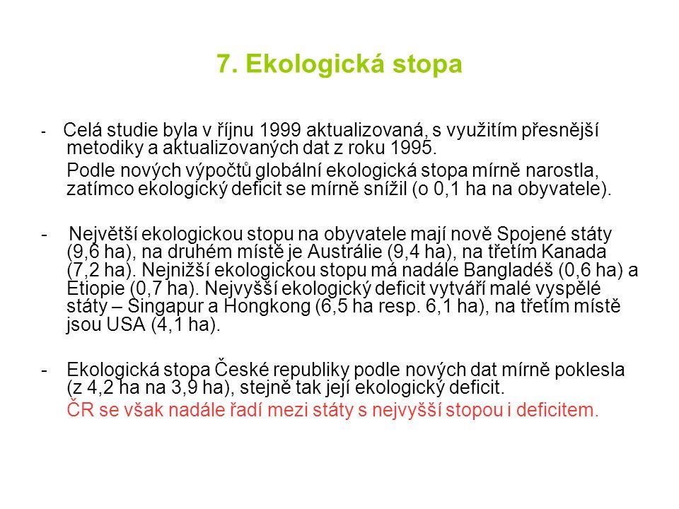 7. Ekologická stopa - Celá studie byla v říjnu 1999 aktualizovaná, s využitím přesnější metodiky a aktualizovaných dat z roku 1995. Podle nových výpoč