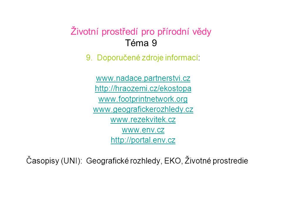 Životní prostředí pro přírodní vědy Téma 9 9. Doporučené zdroje informací: www.nadace.partnerstvi.cz http://hraozemi.cz/ekostopa www.footprintnetwork.