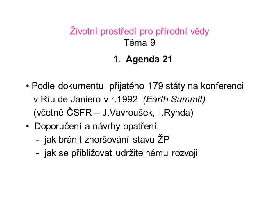 Životní prostředí pro přírodní vědy Téma 9 2.